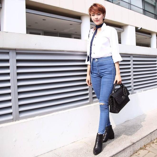 Minh Hang me dam cac kieu quan jeans ca tinh hinh anh 11