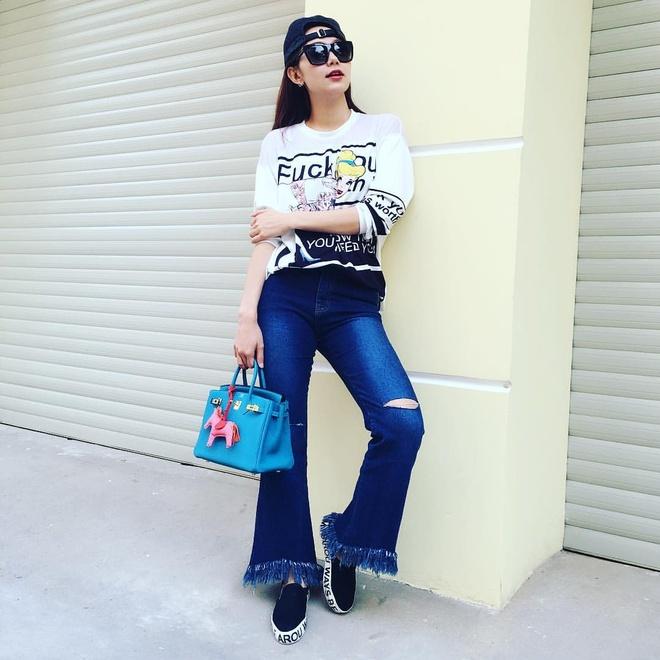 Minh Hang tich cuc lang xe mau jeans xe gau hinh anh 7