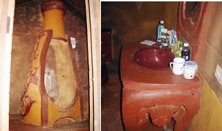 Vuong quoc dat set doc nhat vo nhi hinh anh 3 Phòng tắm được làm theo mô phỏng của thiết kế chai rượu và bồn rửa mặt bằng đất sét. Tất cả đều được dùng cho sinh hoạt bình thường. Ảnh nhandan