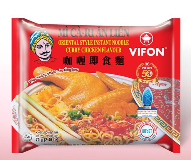 Nhung thuong hieu khoi dau cua thi truong mi goi Viet hinh anh 7 Vào những năm cuối thập kỷ 90 của thế kỷ XX, mì cà ri ăn liền hiệu Vifon được xem là sản phẩm có vị đậm đà nhất trên thị trường. Được đóng gói với màu đỏ nổi bật, Vifon cà ri khi đó được xem là loại mì cao cấp, bởi giá một gói mì này thường đắt gấp đôi hoặc gấp 5 lần so với các sản phẩm khác cùng loại.