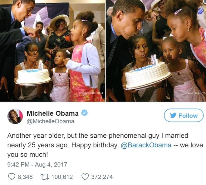 Cuu TT Obama nhan loi chuc 'co canh' tu ba xa trong ngay sinh nhat hinh anh 1