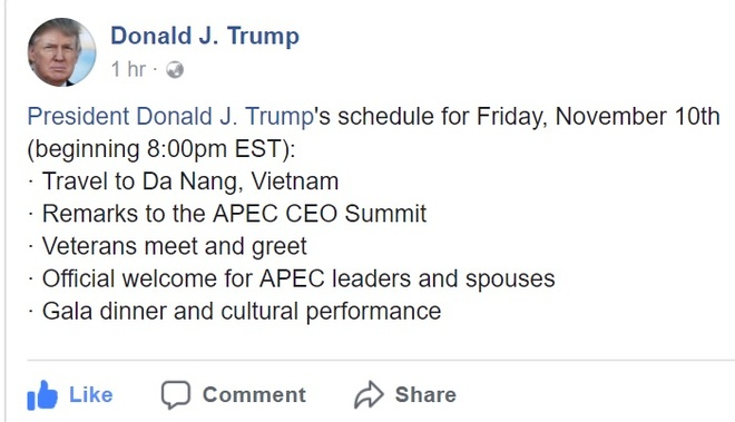 Tong thong Trump noi ve APEC, Da Nang tren Facebook hinh anh 1