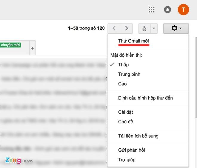"""Để chuyển đổi sang Gmail mới người dùng cần đăng nhập tài khoản. Sau đó  chọn phần cài đặt (setting) ở góc trên bên phải. Sau đó chọn dòng """"Thử Gmail  mới"""" ..."""