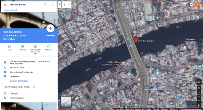Cay cau 'vinh biet Bitcoin' o Sai Gon tren Google Maps hinh anh