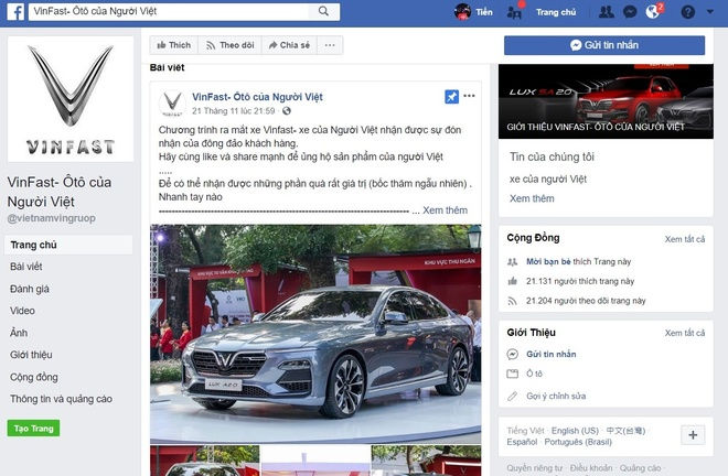 Tro lua tang 99 xe VinFast Lux A 2.0 xuat hien tren Facebook hinh anh 2