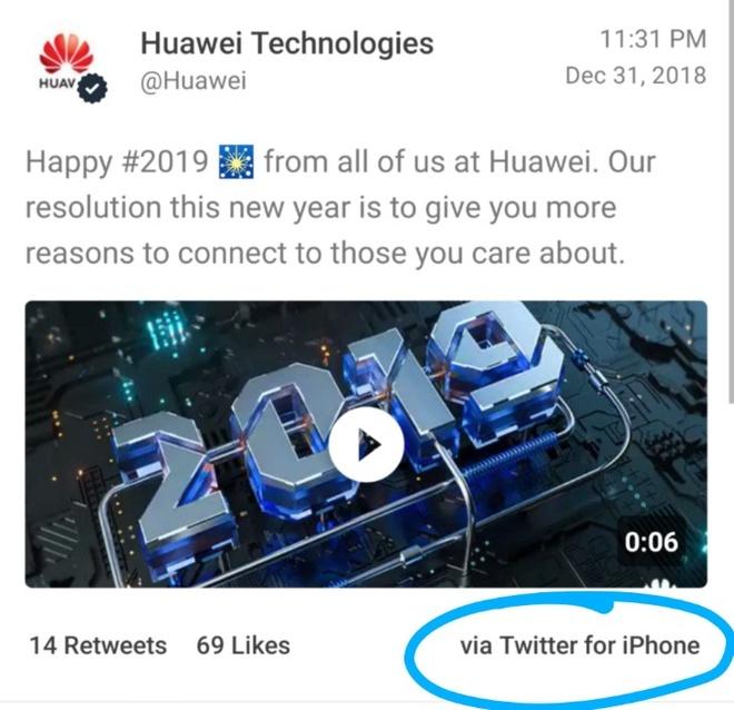 Huawei dang tweet chuc mung nam moi bang iPhone hinh anh 1