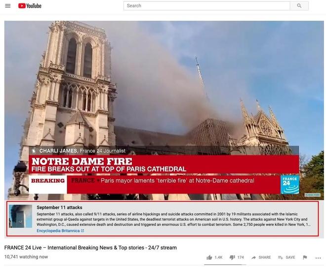 Chay Nha tho Duc Ba Paris, YouTube nhan nham la su kien 11/9 hinh anh 1
