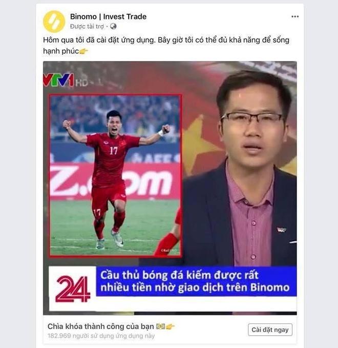 Mao danh VTV dang bai Van Thanh U23 VN quang cao ca cuoc Binomo hinh anh 2