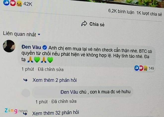 'Co' ve cho den liveshow cua Den Vau lua dao tren Facebook hinh anh 1