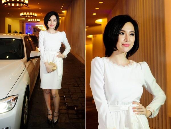 5 lan do sac tren tham do cua Ngoc Trinh va Phuong Trinh hinh anh 7 Tại một sự kiện khác, Angela Phương Trinh bất ngờ thay đổi phong cách khi diện váy