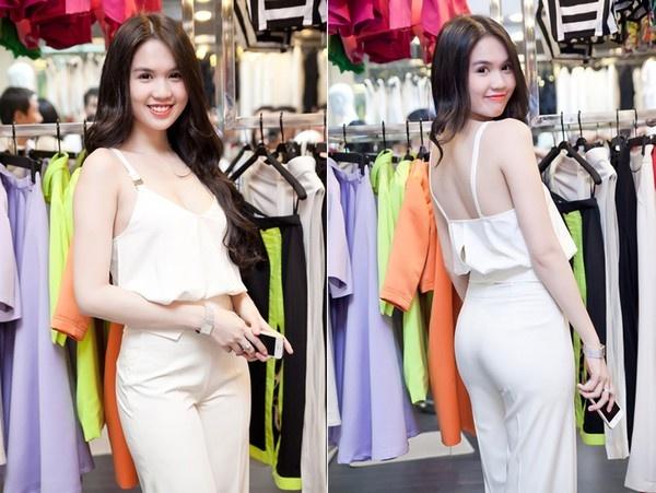 5 lan do sac tren tham do cua Ngoc Trinh va Phuong Trinh hinh anh 14 Ngọc Trinh lại chọn cho mình một bộ jumpsuit trắng có kiểu dáng hao hao hàng loạt trang phục jumpsuit cô đã từng diện trước đó.