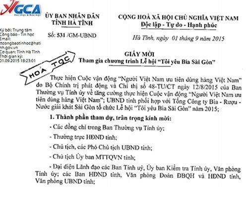 Yeu cau uong bia Sai Gon co vi pham quyen rieng tu? hinh anh 1 Ảnh giấy mời của Chánh văn phòng UBND tỉnh Hà Tĩnh dùng dấu hỏa tốc yêu cầu lãnh đạo tham dự lễ hội bia.