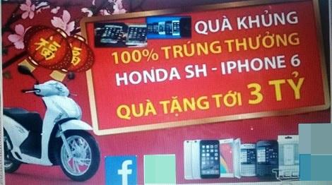 """Bat nhom lua dao 'chuc mung ban trung thuong xe SH' hinh anh 1 Trang web trúng thưởng """"ảo""""."""
