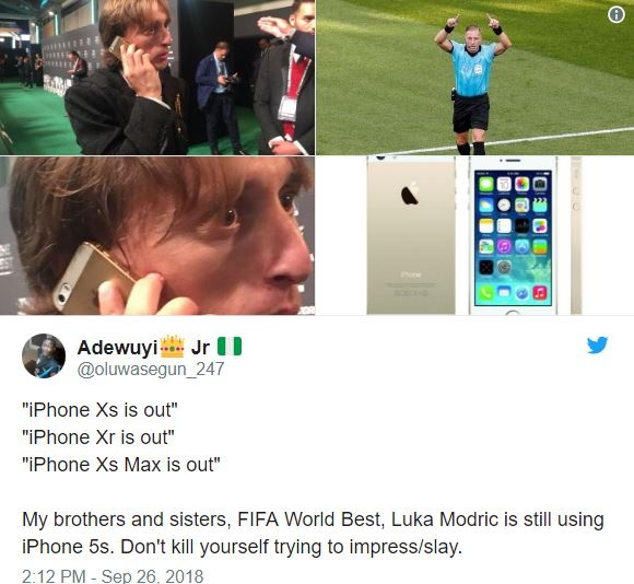 Luka Modric dung iPhone 5S anh 1