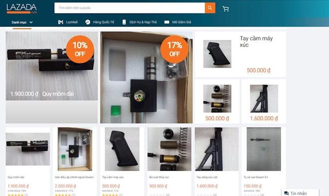 Nhiều sản phẩm thiết bị lắp ráp súng được đăng bán trên Lazada.
