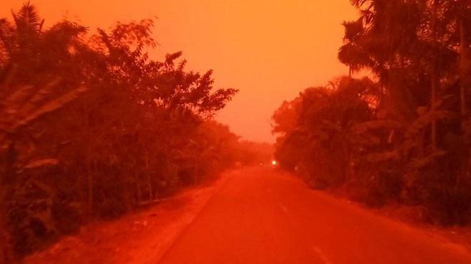 Bầu trời đỏ rực tại tỉnh Jambi, Indonesia