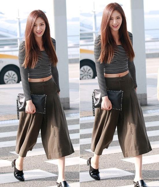 Me man voi vong eo con kien cua my nhan Han hinh anh 3 Nana (After School) chẳng khác gì siêu mẫu với set đồ bao gồm quần  culottes và áo crop top.