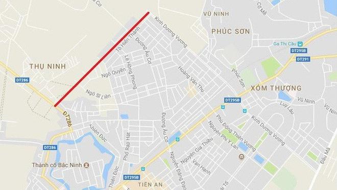 Yeu cau 2 bo vao cuoc vu doi 100 ha dat lay 1,39 km duong o Bac Ninh hinh anh