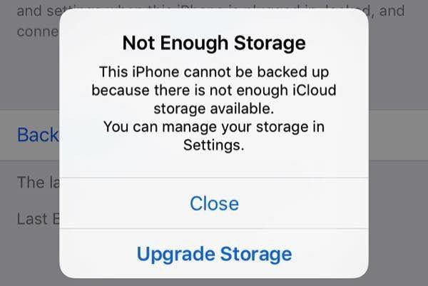 Thông báo về việc không đủ dung lượng iCloud để sao lưu dữ liệu quen thuộc với người dùng iPhone. Ảnh: Tenorshare.