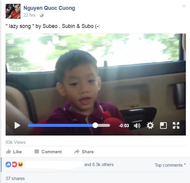Cuong Do La dang clip con trai Subeo hat tieng Anh hinh anh 1