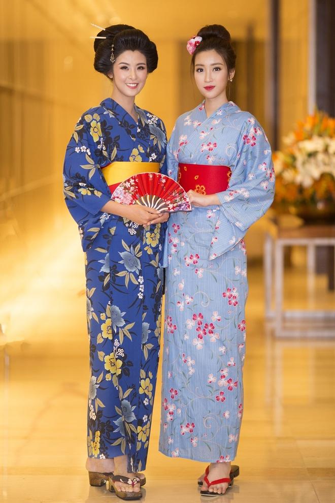 Hoa hau Ngoc Han, My Linh do dang voi trang phuc kimono hinh anh 5