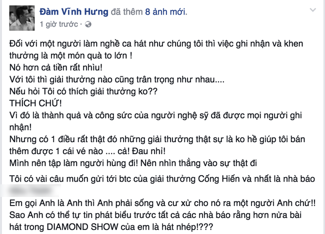 Vi hieu lam, Dam Vinh Hung chi trich BTC giai Cong hien hinh anh 1