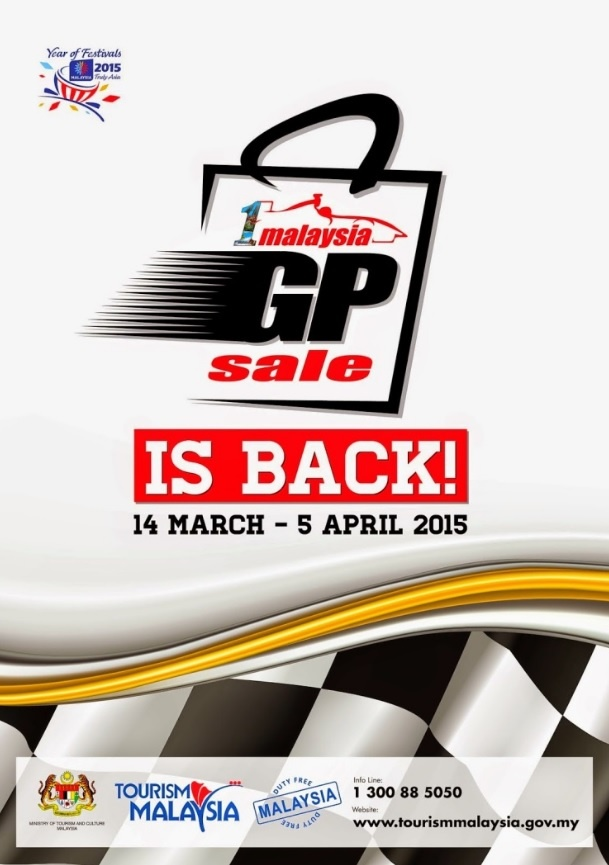 2. Lễ hội Mua sắm Giảm giá 1Malaysia GP Sale. Được tổ chức cùng với Giải đua xe Thể thức 1 Petronas Malaysia Grand Prix hàng năm, du khách có thể cảm nhận không khí mua sắm 1Malaysia GP Sale rõ rệt nhất tại Klang Valley, tại đây các trung tâm mua sắm và khu thương mại thường tổ chức các chương trình khuyến mãi hấp dẫn. Khách du lịch đến thưởng thức các cuộc đua F1 có thể đến sớm một chút hoặc ở lại sau cuộc đua cho để nhận được những ưu đãi mua sắm này. Thời gian: 03/2015 trên toàn quốc.
