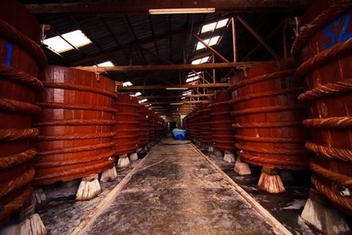 Nam dao Phu Quoc - vien ngoc trai lap lanh nang he hinh anh 6 Nhà thùng nước mắm tại Phú Quốc. Đến tham quan nhà thùng nước mắm Phú Quốc, bạn sẽ được tận mắt chứng kiến quy mô của cơ sở sản xuất nước mắm và cả một quy trình tạo thành những giọt nước mắm hảo hạng. Những thùng gỗ khổng lồ xếp thẳng hàng cho khách tham quan. Nước mắm Phú Quốc nức tiếng nhờ độ đạm cao ( 36 – 40 ) , vị dịu ngọt , thơm mùi cá cơm Sọc Tiêu đặc sản chỉ riêng Phú Quốc mới có. Đương nhiên là không có gì khó khăn cường lại bạn mua một chai nước mắm làm quà cho gia đình.