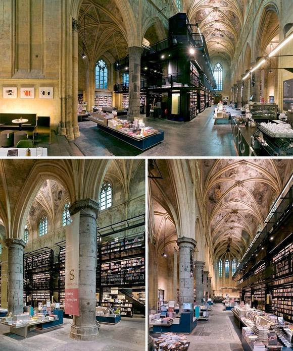 Boekhandel Domincanen, Maastricht, Hà Lan: Được xây dựng từ năm 1294, nơi đây vốn là một nhà thờ và được chuyển thành hiệu sách vào năm 2006. Với hơn 40.000 đầu sách tiếng Hà Lan, Anh, Tây Ban Nha, Pháp và Ý, hiệu sách còn là một trung tâm văn hóa tổ chức hơn 140 sự kiện văn học mỗi năm.