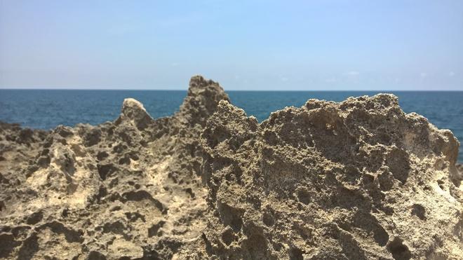 4. Hòn Đỏ (Bãi đá tổ ong): Tất cả những gì bạn nhìn thấy ở hang Rái, đó chỉ là một phần nhỏ của bãi đá tổ ong. Nếu không biết đường, hãy hỏi dân địa phương đường ra hòn Đỏ. Bạn sẽ phải len lỏi qua những cánh đồng tỏi, ớt, chạy trên cát khoảng 1 cây số sẽ ra được bãi đá tổ ong. Bãi đá rất rộng, cảm giác cứ đi mãi mà không hết.
