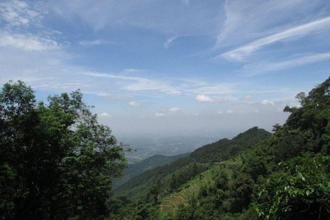 Từ trên cao nhìn xuống, màu xanh của cây cối hòa lẫn trong sắc xanh biêng biếc của trời và trắng ngần của những đốm mây. Một khung cảnh rất đỗi bình yên!