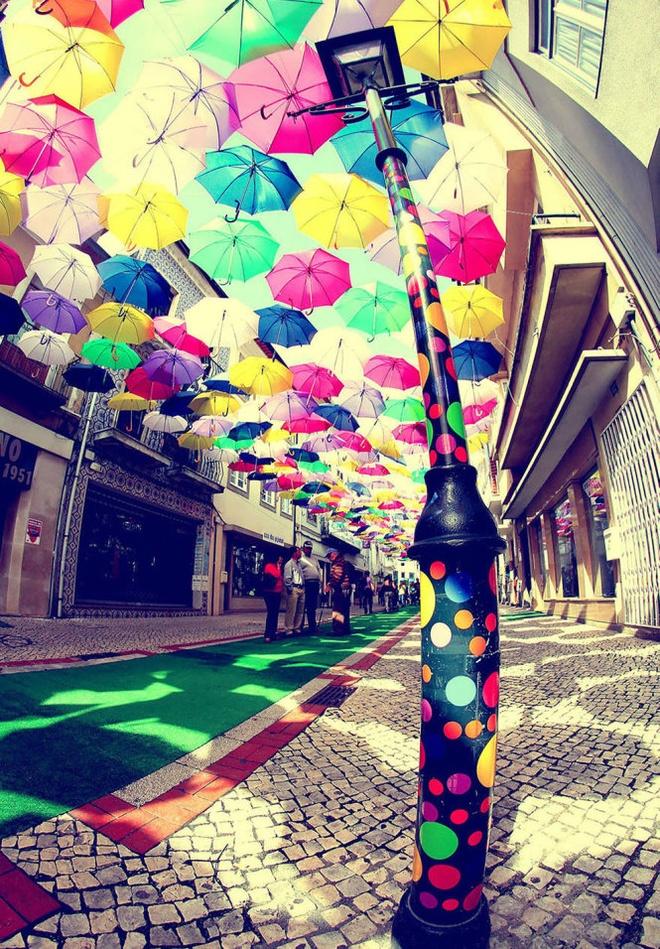 Chiem nguong 'bau troi o du' day sac mau o Agueda hinh anh 3 Vào thời điểm này, các con đường quanh các khu phố mua sắm của thành phố Agueda giống như đường hầm đa sắc dịu mát trước sức nóng mùa hè khi có hàng trăm chiếc ô giương cao che nắng bên trên.