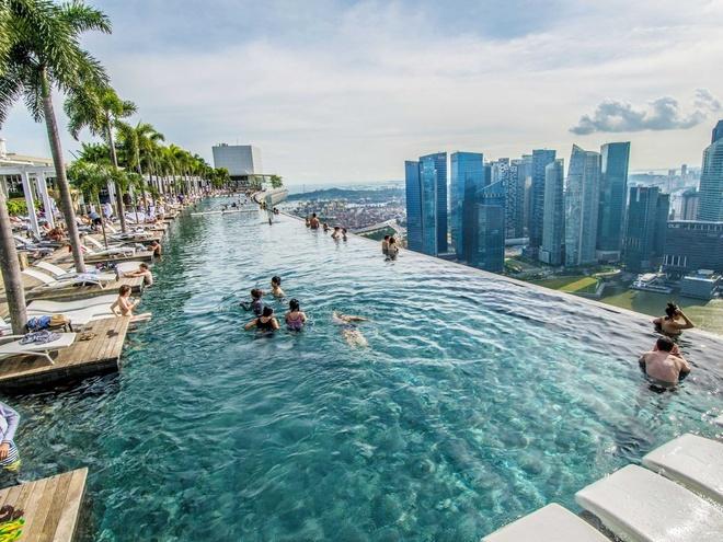 Hồ bơi trên sân thượng Marina Bay Sands Hotel, Singapore: Đây là một trong những hồ bơi có quang cảnh đường chân trời ấn tượng nhất thế giới.