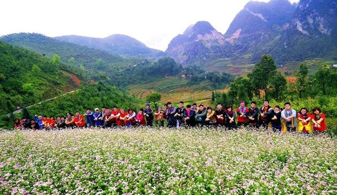 Bi kip du le hoi Hoa tam giac mach cua dan phuot hinh anh 3 Các nhóm phượt hào hứng chia sẻ ảnh chụp cùng Tam giác mạch các mùa trước.