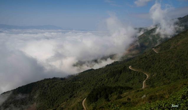 Dai duong may menh mong tren dinh Ta Xua - Son La hinh anh 1 Con đường từ thị trấn Bắc Yên lên Tà Xùa dài 13km cũng thường xuyên chìm trong mây trắng.