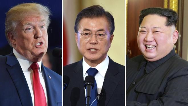 Trump - Kim - Moon co the cung tuyen bo ket thuc chien tranh hinh anh