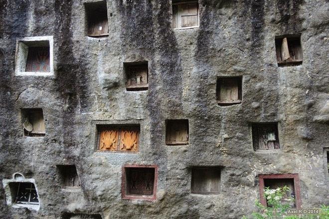 Người Toraja hiếm khi chôn người chết mà họ thưởng để thi thể trong những hang đá được trổ ở rìa núi.