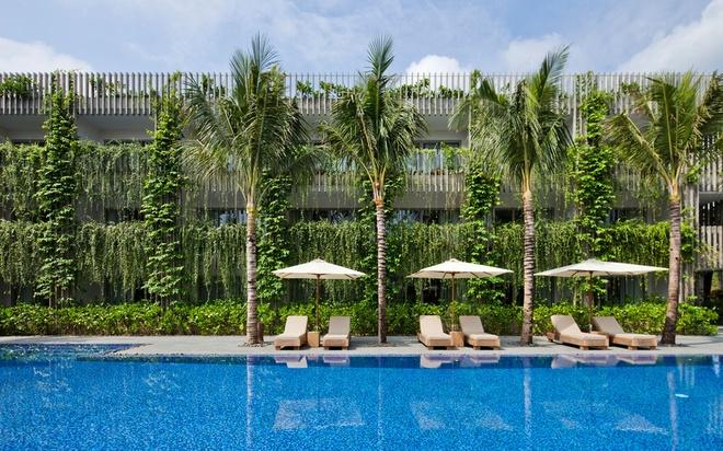 Bao Tay ca ngoi khong gian xanh mat cua Naman Da Nang hinh anh 7 Bức tường xanh này được trồng dọc ban công và hành lang của 3 tầng khách sạn với 32 phòng, bao gồm cả những bức tường quanh bể bơi.