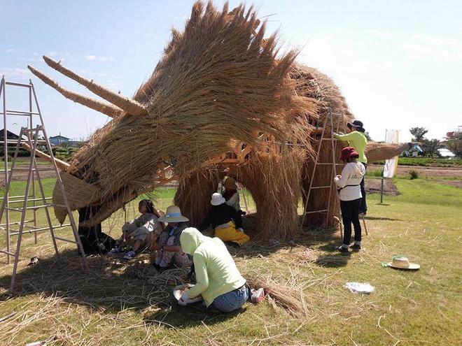 Ami Goda, một nghệ sĩ địa phương bắt đầu thực hiện ý tưởng tạo hình tượng rơm nghệ thuật ở vùng này từ năm 2013.