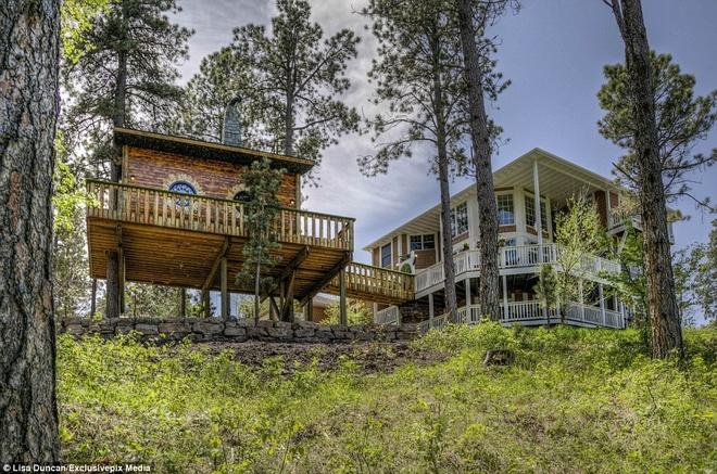 Ngoi nha danh cho fan cuong cua nguoi Hobbit hinh anh 2 Căn nhà trên cây này là một phần của gói dịch vụ khi du khách thuê dinh thự Chateau de Soleil (bên phải) ở South Dakota.