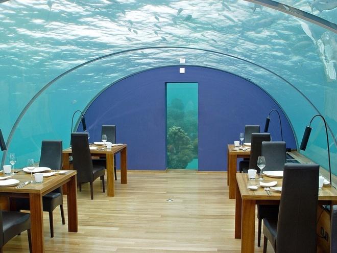 Nhung nha hang hut khach voi phong cach quai chieu hinh anh 10 Nhà hàng Ithaa ở hòn đảo Maldives, Rangali nằm ở độ sâu 5 m dưới Ấn Độ Dương, được tờ New York Daily News bình chọn là nhà hàng đẹp nhất năm 2014.