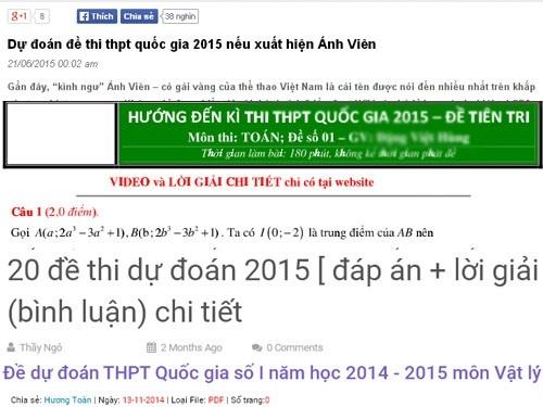 Tran lan 'de thi du doan' ky thi THPT quoc gia 2015 hinh anh