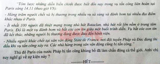 Hoc tro truong chuyen voi de thi 'khung bo Paris' hinh anh 1