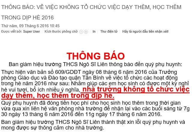 Truong hoc o Sai Gon tra lai tien hoc them hinh anh 1