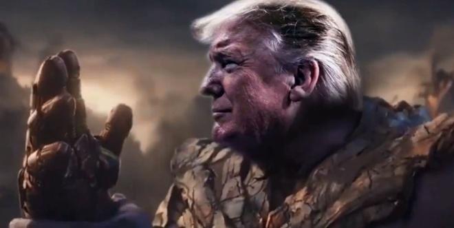 Doi tranh cu bien TT Trump thanh Thanos 'bung tay' phe Dan chu hinh anh 1 Thanos.jpg
