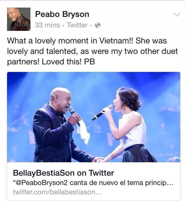Peabo Bryson khen giong hat Van Mai Huong tren Twitter hinh anh 1