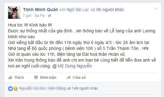 Le tang nhac si Luong Minh dien ra ngay 4/3 tai Ha Noi hinh anh 1