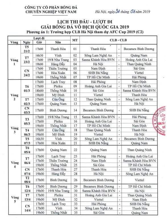 Vi CLB Ha Noi, VPF ban hanh 2 bo lich thi dau V.League 2019 hinh anh 3
