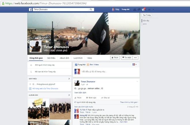 3 thieu nien su dung Facebook gia thanh vien khung bo IS hinh anh 1 Một tài khoản Facebook giả mạo IS đưa tin khiêu khích khủng bố.