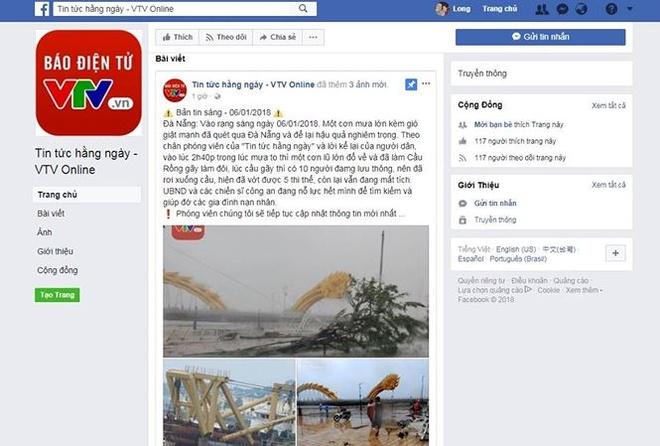 Gia mao Facebook VTV8 dang tin that thiet ve Da Nang hinh anh